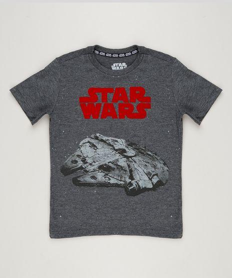 Camiseta-Infantil-Millennium-Falcon-Star-Wars-Manga-Curta-Gola-Careca--Cinza-Mescla-Escuro-9238380-Cinza_Mescla_Escuro_1