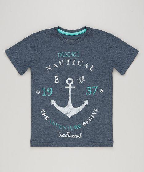 Camiseta Infantil Estampa de Âncora Manga Curta Gola Careca Azul ... 823389f5a31e1