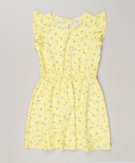 Vestido-Infantil-Estampado-Floral-com-Babado-Sem-Manga--Amarelo-9127080-Amarelo_1
