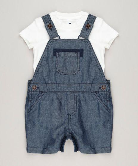 Conjunto-Infantil-de-Jardineira-Jeans-Azul-Escuro---Body-Manga-Curta-em-Algodao---Sustentavel--Off-White-9114245-Off_White_1