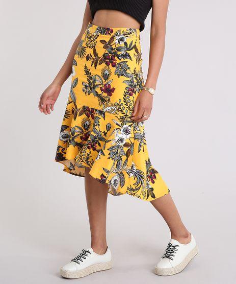 Saia-Feminina-Midi-Estampada-Floral-com-Linho-Amarelo-9086845-Amarelo_1