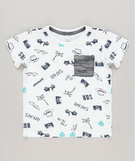 14f206f975 Camiseta Infantil Estampada com Bolso Manga Curta Gola Careca Off ...