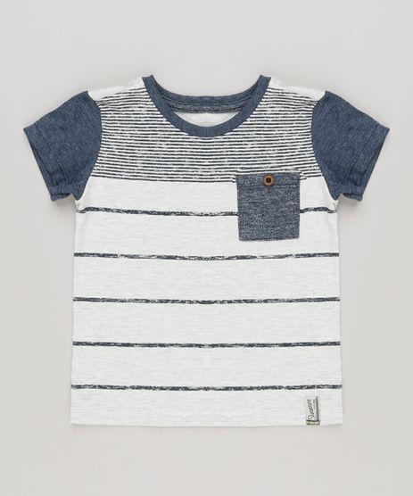 Camiseta-Infantil-com-Estampa-Listrada-e-Bolso-Manga-Curta-Gola-Careca-Cinza-Mescla-Claro-8812802-Cinza_Mescla_Claro_1