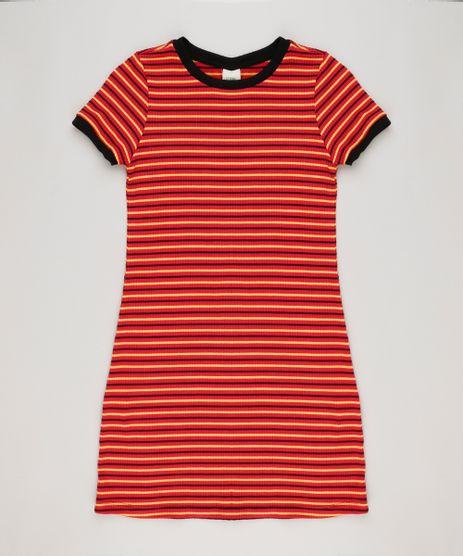 Vestido-Infantil-Listrado-Canelado-Curto-Manga-Curta-Decote-Redondo-Vermelho-9228815-Vermelho_1