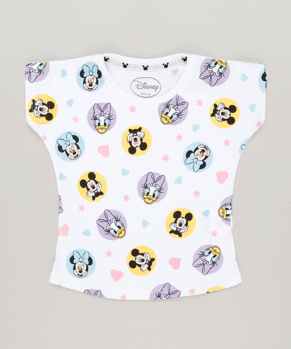 Blusa Infantil com Estampa Turma do Mickey Manga Curta Decote Redondo Off  White fd4c6195d44