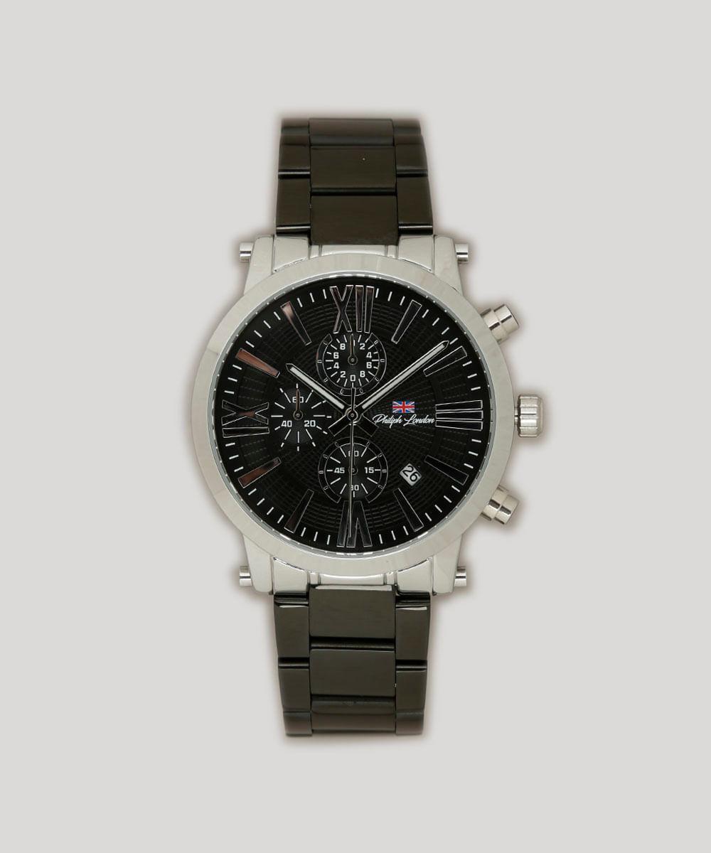 d7e0980ac Relógio Cronógrafo Philiph London Masculino - PL80047623M Preto - Único