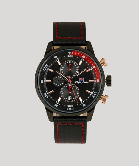 024db61c947 Relógio Cronógrafo Philiphh London Masculino - PL80048612M Preto - cea