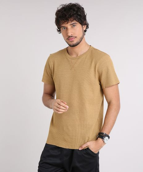 Camiseta-Masculina-Slim-Fit-em-Piquet-Manga-Curta-Gola-Careca-Caramelo-9209210-Caramelo_1