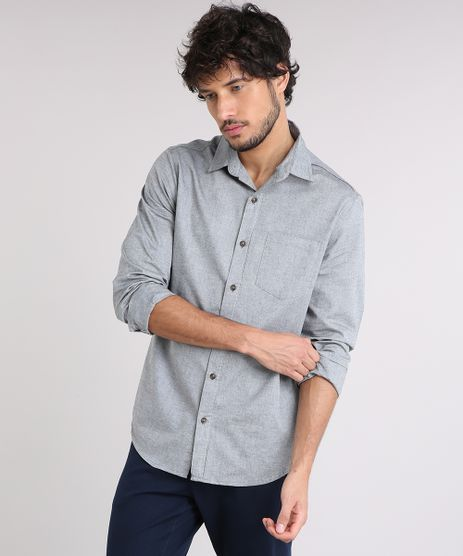 Camisa-Masculina-Slim-com-Bolso-Manga-Longa-Cinza-Mescla-9258425-Cinza_Mescla_1