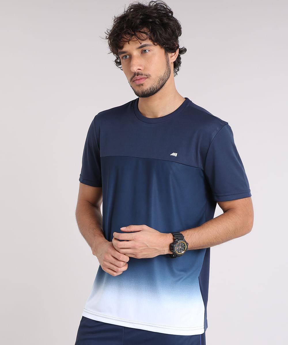 Camiseta Masculina Ace Degradê Manga Curta Gola Careca Azul Marinho ... 3a2daded03d39