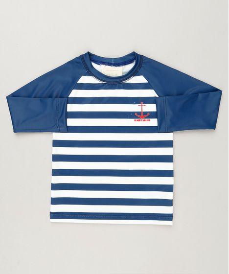 Camiseta de Praia Infantil Listrada Raglan Manga Longa com Proteção ... d812a8c5de1ee