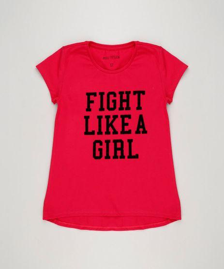Blusa-Infantil--Fight-Like-A-Girl--Manga-Curta-Decote-Redondo-Rosa-Escuro-9220311-Rosa_Escuro_1