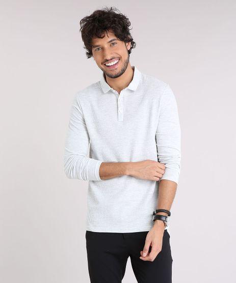 Polo-Masculina-Slim-Fit-Texturizada-Manga-Longa-Cinza-Mescla-Claro-9178263-Cinza_Mescla_Claro_1