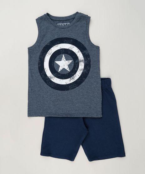 Conjunto-Infantil-Capitao-America-de-Regata-Gola-Careca---Bermuda-em-Moletom-Azul-Marinho-9243660-Azul_Marinho_1