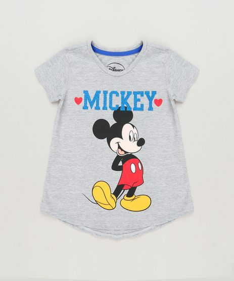 Blusa-Infantil-Mickey-com-Glitter-Manga-Curta-Decote-Redondo-em-Algodao---Sustentavel-Cinza-Mescla-9230146-Cinza_Mescla_1