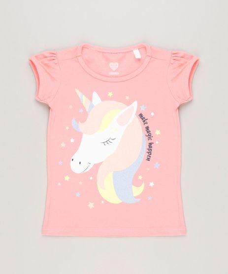 Blusa-Infantil-Unicornio-com-Glitter-Manga-Curta-Decote-Redondo-em-Algodao---Sustentavel-Rosa-9220804-Rosa_1