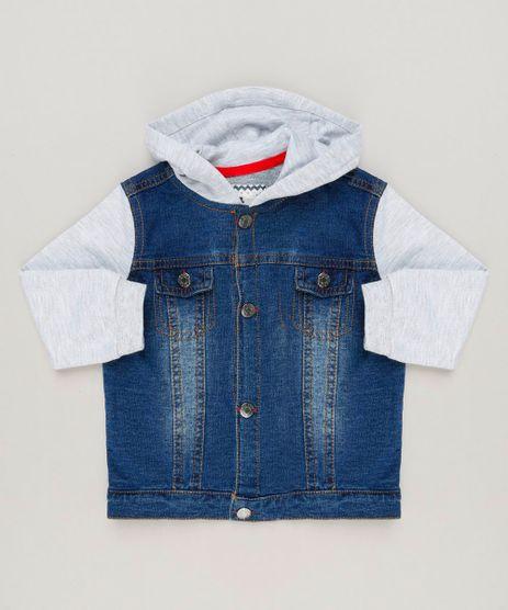 Jaqueta-Jeans-Infantil-com-Capuz-Manga-Longa-em-Moletom-de-Algodao---Sustentavel-Azul-Escuro-9118901-Azul_Escuro_1