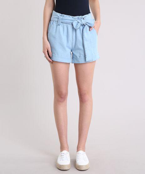 Short-Jeans-Feminino-Clochard-Cintura-Alta-com-Faixa-de-Amarrar-Azul-Claro-9296969-Azul_Claro_1