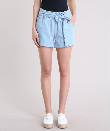 Short Jeans Feminino Mindset Clochard Cintura Alta com Cinto Azul ... da7d93082edb9