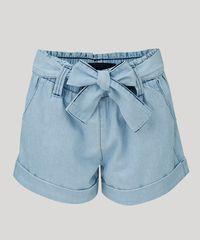 82bdd8fdb Short Jeans Feminino Mindset Clochard Cintura Alta com Cinto Azul ...