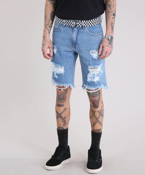Bermuda-Jeans-Masculina-Destroyed-com-Cinto-Quadriculado-Azul-Claro-9218770-Azul_Claro_1