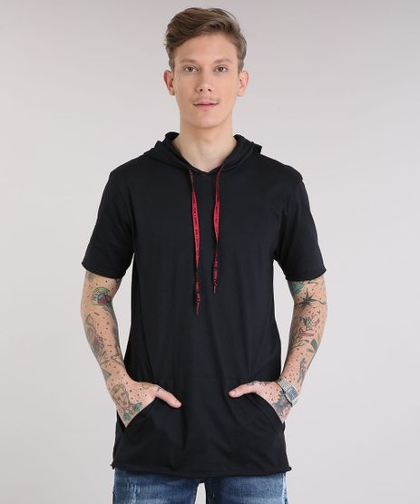 Camiseta-Masculina-Longa-com-Bolso-e-Capuz-com-Cordao-Manga-Curta-Preta-9216371-Preto_1