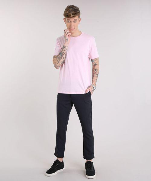 76e962d29d Camiseta-Masculina-Basica-Manga-Curta-Gola-Careca-Rosa-