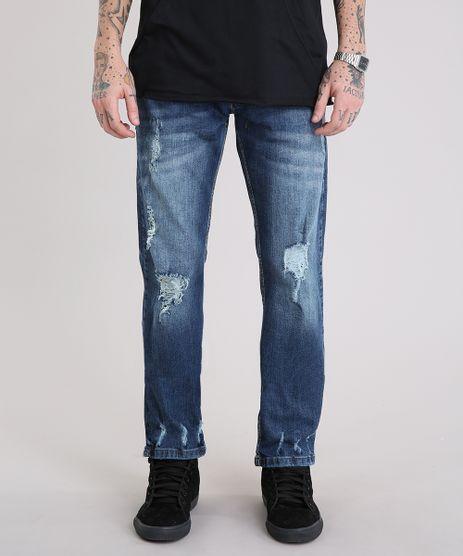 Calca-Jeans-Masculina-Reta-Destroyed-Azul-Escuro-9110306-Azul_Escuro_1