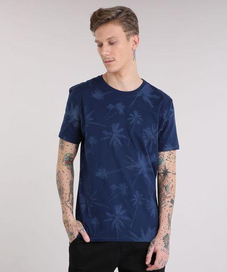 Camiseta-Masculina-Estampada-de-Coqueiros-Manga-Curta-Gola-Careca-Azul-Marinho-9210278-Azul_Marinho_1