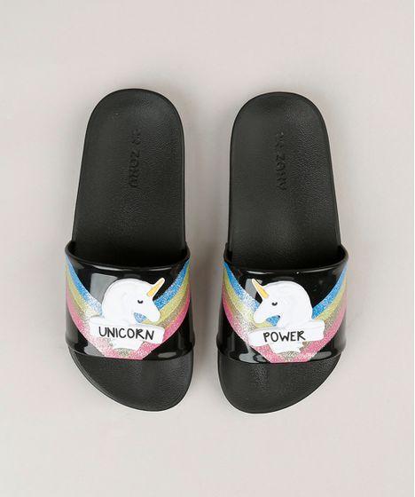 3ada9d2914 Chinelo Slide Infantil Zaxy Unicórnio com Glitter Preto - cea