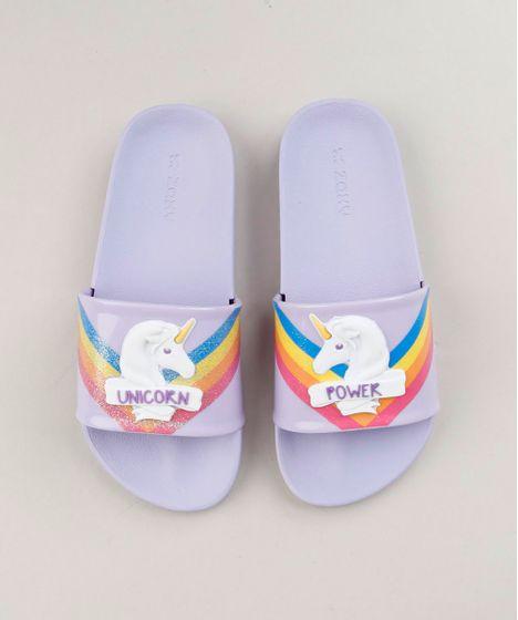 57d82bba32 Chinelo Slide Infantil Zaxy Unicórnio com Glitter Lilás - cea