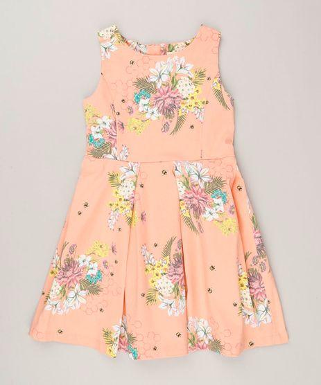 Vestido-Infantil-Estampado-Floral-com-Pregas-Sem-Manga-Decote-Redondo-Coral-9115649-Coral_1