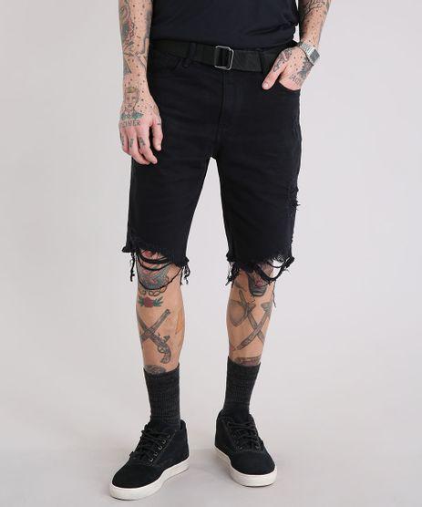 Bermuda-Jeans-Masculina-Destroyed-com-Cinto-Preto-9218771-Preto_1