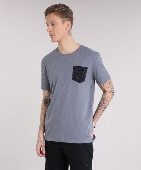 Camiseta-Masculina-com-Bolso-Manga-Curta-Gola-Careca-Cinza-9210880-Cinza_1