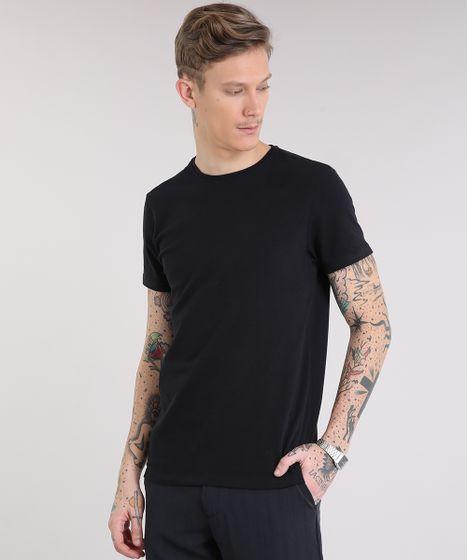 Camiseta Masculina Básica Manga Curta Gola Careca Preta - cea 43f623ee401db