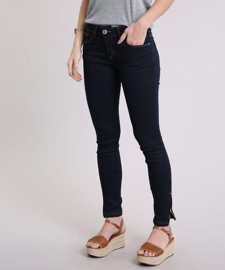 Calca-Jeans-Feminina-Super-Skinny-com-Ziper-na-Barra-Azul-Escuro-8999167-Azul_Escuro_1