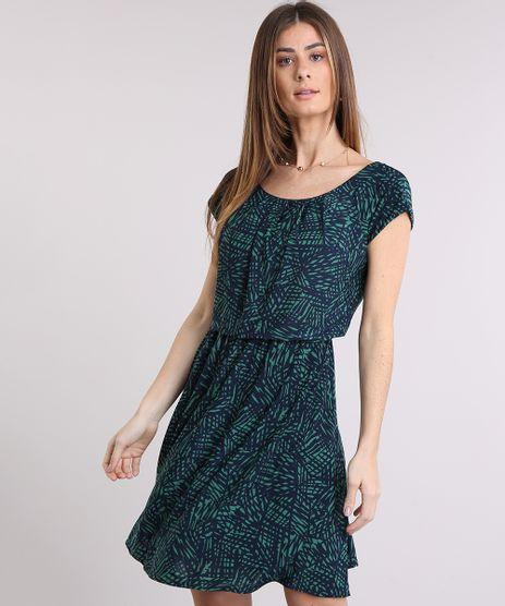 Vestido-Feminino-Estampado-de-Folhagem-Curto-Manga-Curta-Decote-Redondo-Verde-9229949-Verde_1