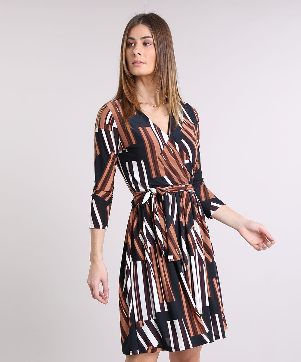 Vestido Feminino Estampado Geométrico Transpassado Curto