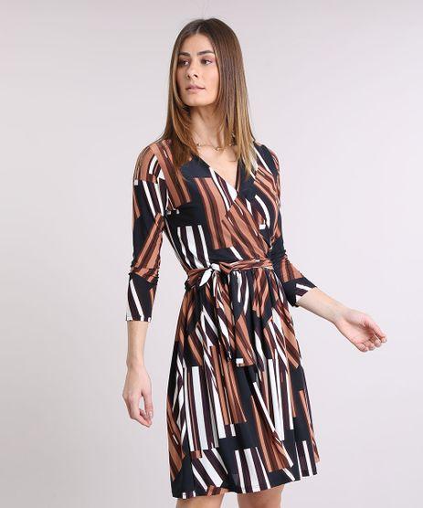 Vestido-Feminino-Estampado-Geometrico-Transpassado-Curto-Manga-Longa-Decote-V-Marrom-9229937-Marrom_1