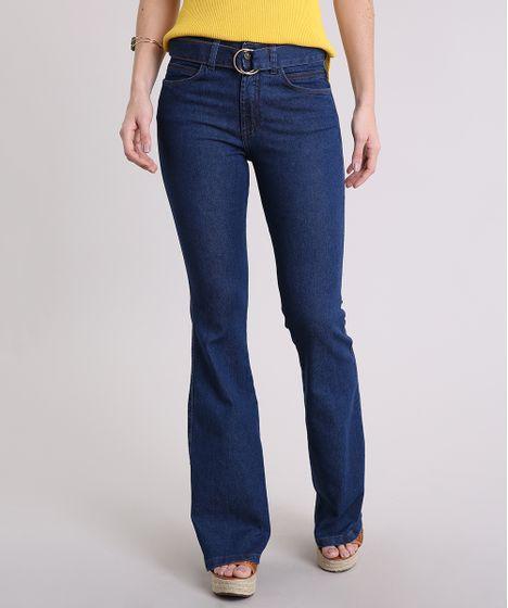 1128b00ce Calça Jeans Feminina Flare Cintura Alta com Cinto de Argola Azul ...