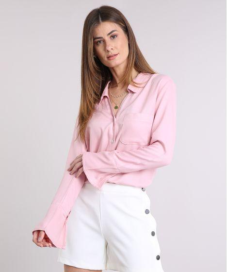 Camisa-Feminina-com-Bolso-Manga-Longa-Rose-9209339- ... b027961c87441