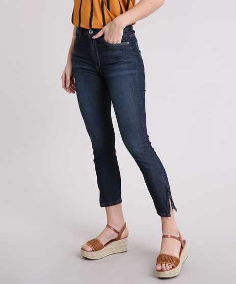 Calca-Jeans-Feminina-Cigarrete-com-Bolsos-Cintura-Alta--Azul-Escuro-9217841-Azul_Escuro_1