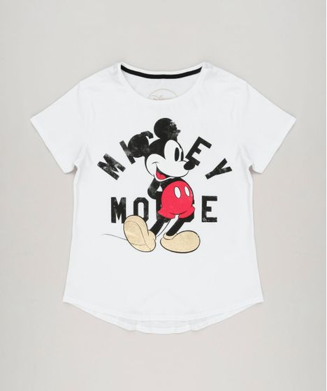 1a850c772 Blusa Infantil Mickey Mouse Manga Curta Decote Redondo Branca - cea