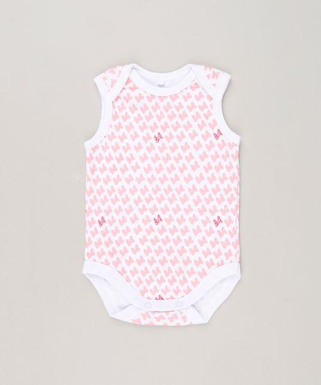 Body-Infantil-Minnie-Estampado-de-Lacinhos-Sem-Manga-Decote-Redondo-em-Algodao---Sustentavel-Branco-9124362-Branco_1