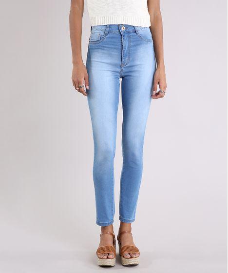 6d98410a2 Calça Jeans Feminina Hot Pant Sawary Super Skinny Azul Claro - cea