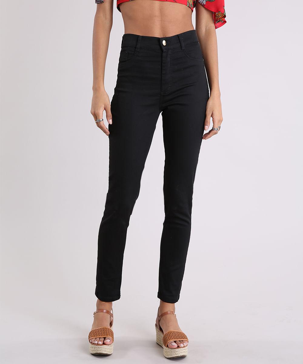 ec9d6748a Calça de Sarja Feminina Hot Pant Sawary Super Skinny Preto - cea