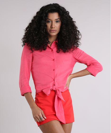 8a5752a8f Camisa Feminina em Linho Cropped com Laço Manga Longa Rosa Escuro - cea