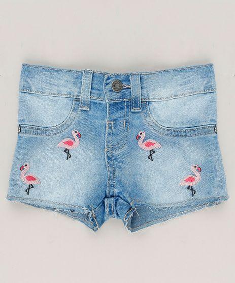 Short-Jeans-Infantil-com-Bordado-de-Flamingos-Azul-Claro-9218159-Azul_Claro_1