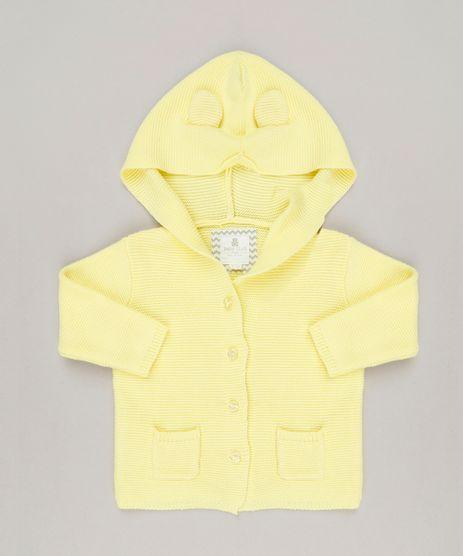 Casaco-Infantil-em-Trico-com-Capuz-de-Orelhinhas--Amarelo-9114236-Amarelo_1