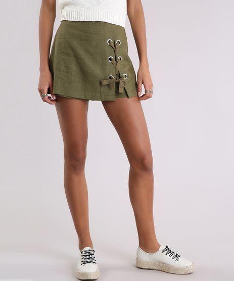 Short-Saia-Feminino-Linho-com-Lace-Up--Verde-Militar-9089389-Verde_Militar_1